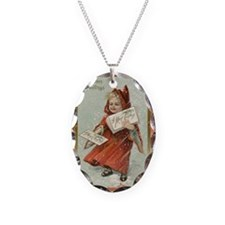 Vintage Girl with cape Necklace Oval Charm