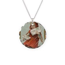 Vintage Girl with cape Necklace Circle Charm