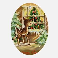 Vintage deer Oval Ornament