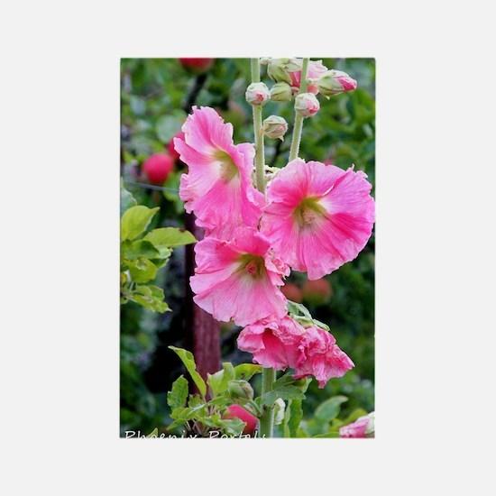 Notecard---Hollyhock-Pink Rectangle Magnet