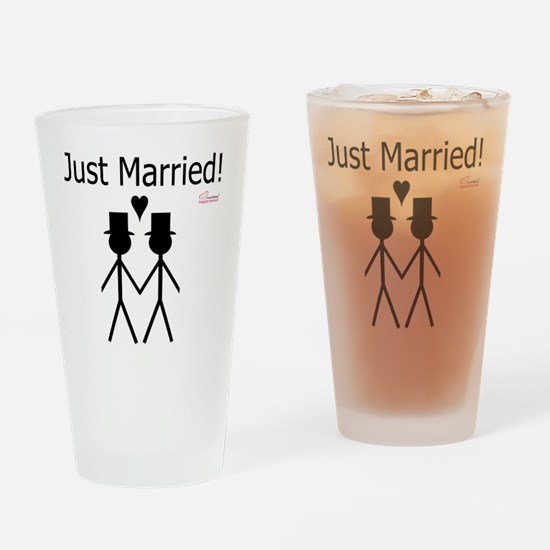 Just Married Gay Marriage Drinking Glass