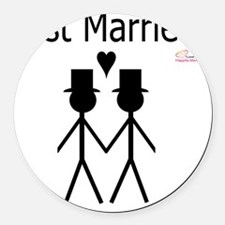 Just Married Gay Marriage Round Car Magnet
