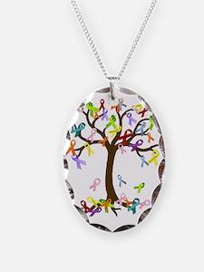 Ribbon Tree Necklace Oval Charm