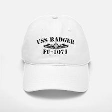 uss badger ff black letters Baseball Baseball Cap