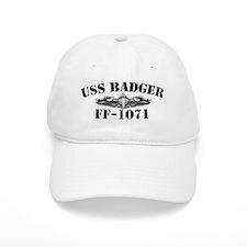 uss badger ff black letters Baseball Cap