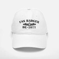 uss badger de black letters Baseball Baseball Cap