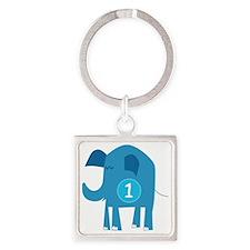 Number 1 Elephant Square Keychain