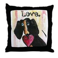 Love is a wennie dog dauschound Throw Pillow