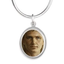 11x17 Emperor Augustus Silver Oval Necklace
