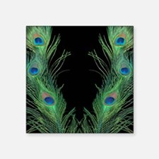 """Black and Gree Peacock Quee Square Sticker 3"""" x 3"""""""
