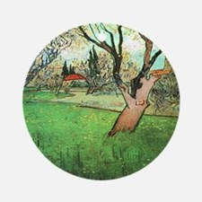 View of Arles with flowering tree Round Ornament