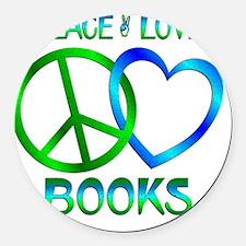 Peace Love Books Round Car Magnet