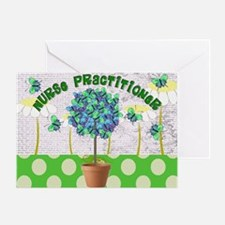 Nurse Practitioner Butterflies Green Greeting Card