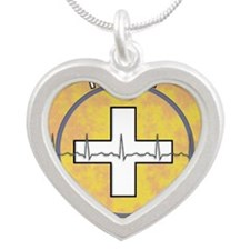 Nurse Practitioner lime and  Silver Heart Necklace
