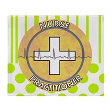 Nurse Practitioner lime and polka do Throw Blanket