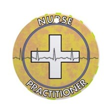 Nurse Practitioner lime and polka d Round Ornament