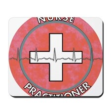 Nurse Practitioner ROUND RED GREY Mousepad