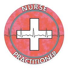 Nurse Practitioner ROUND RED GREY Round Car Magnet