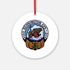 uss bennington cvs patch transparen Round Ornament