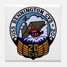 uss bennington cvs patch transparent Tile Coaster