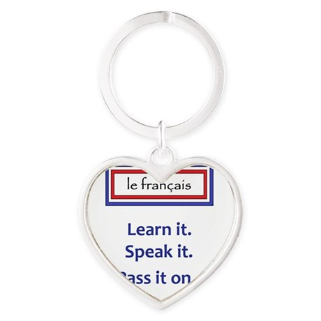 French Learn, Speak, Pass Heart Keychain