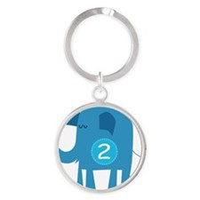 Number 2 Elephant Round Keychain