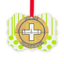 Nurse Practitioner lime and polka Ornament