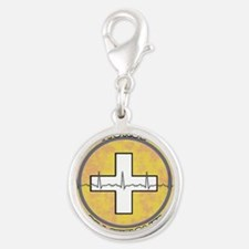 Nurse Practitioner lime and po Silver Round Charm