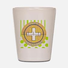 Nurse Practitioner lime and polka dots  Shot Glass
