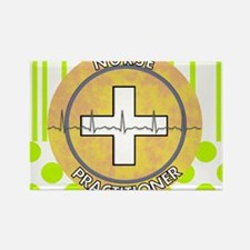 Nurse Practitioner lime and polka Rectangle Magnet