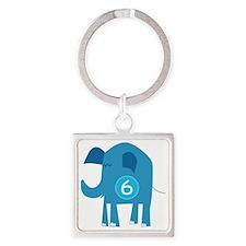 Number 6 Elephant Square Keychain