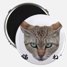 A Cat Face with Japanese words Magnet