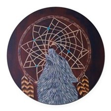 Wolf with Dreamcatcher Round Car Magnet