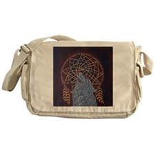 Wolf with Dreamcatcher Messenger Bag