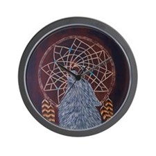 Wolf with Dreamcatcher Wall Clock