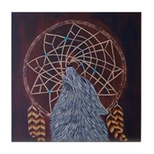 Wolf with Dreamcatcher Tile Coaster