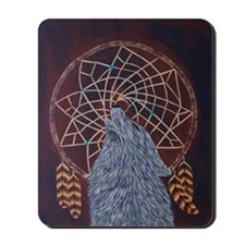 Wolf with Dreamcatcher Mousepad