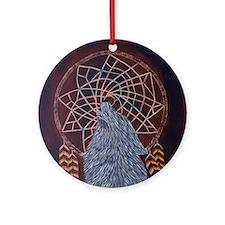 Wolf with Dreamcatcher Round Ornament