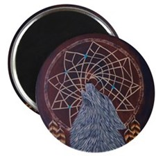 Wolf with Dreamcatcher Magnet