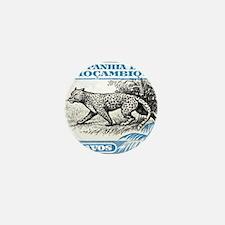 1930's Mozambique Leopard Stamp Blue Mini Button