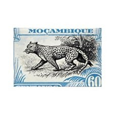 1930's Mozambique Leopard Stamp B Rectangle Magnet