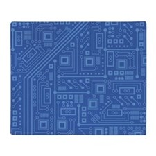 Blue Circuit Board Throw Blanket