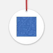 Blue Circuit Board Round Ornament