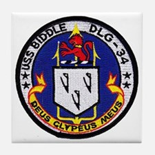 uss biddle dlg patch transparent Tile Coaster