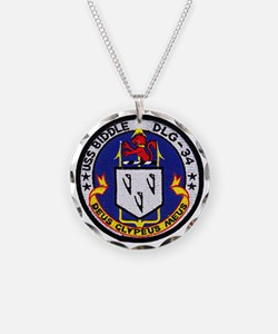 uss biddle dlg patch transpa Necklace Circle Charm