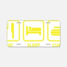 EatSleepCurl1D Aluminum License Plate