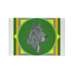 Blue Great Dane design Rectangle Magnet