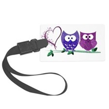 Cute Owls and Heart Luggage Tag