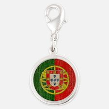 Vintage Portugal Flag Silver Round Charm