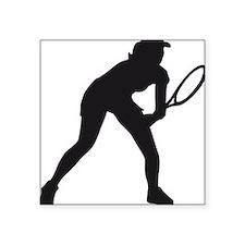 "female tennis player Square Sticker 3"" x 3"""